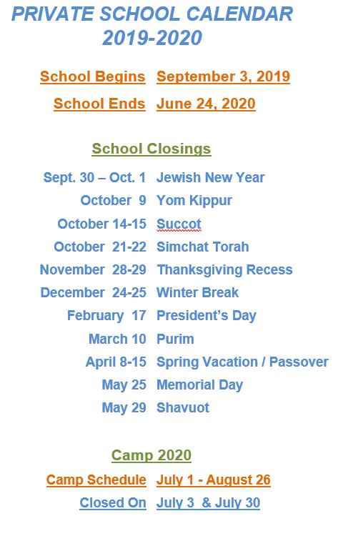 Passover 2020 Calendar.School Calendars Forest Park Preschool And Summer Camp